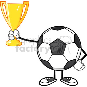 soccer ball cartoon character holding a golden trophy cup vector  illustration isolated on white background clipart. Royalty.