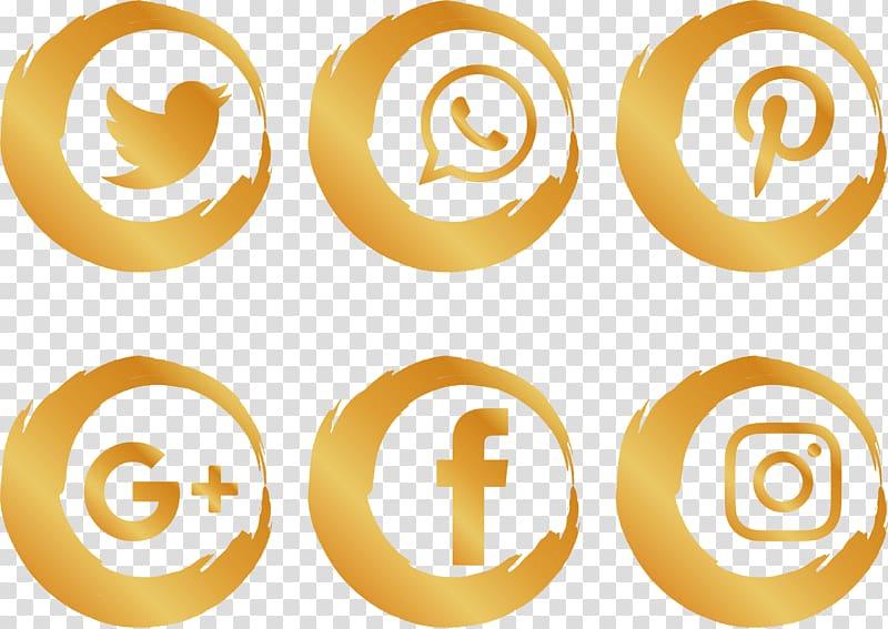 Social media Social network Icon, Gold Brush Social Icons.