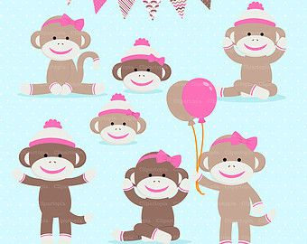 PINK SOCK Monkey Digital clipart, Girl Monkey Clip art, Cute.