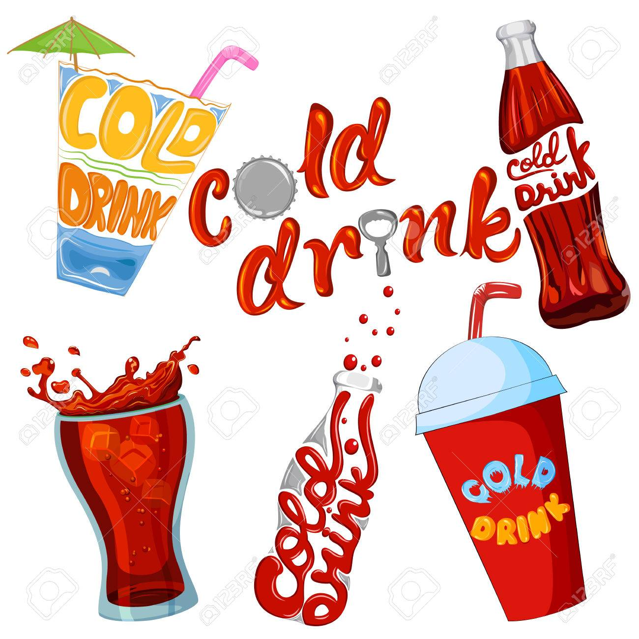 Set of cold drink and beverage icon ..