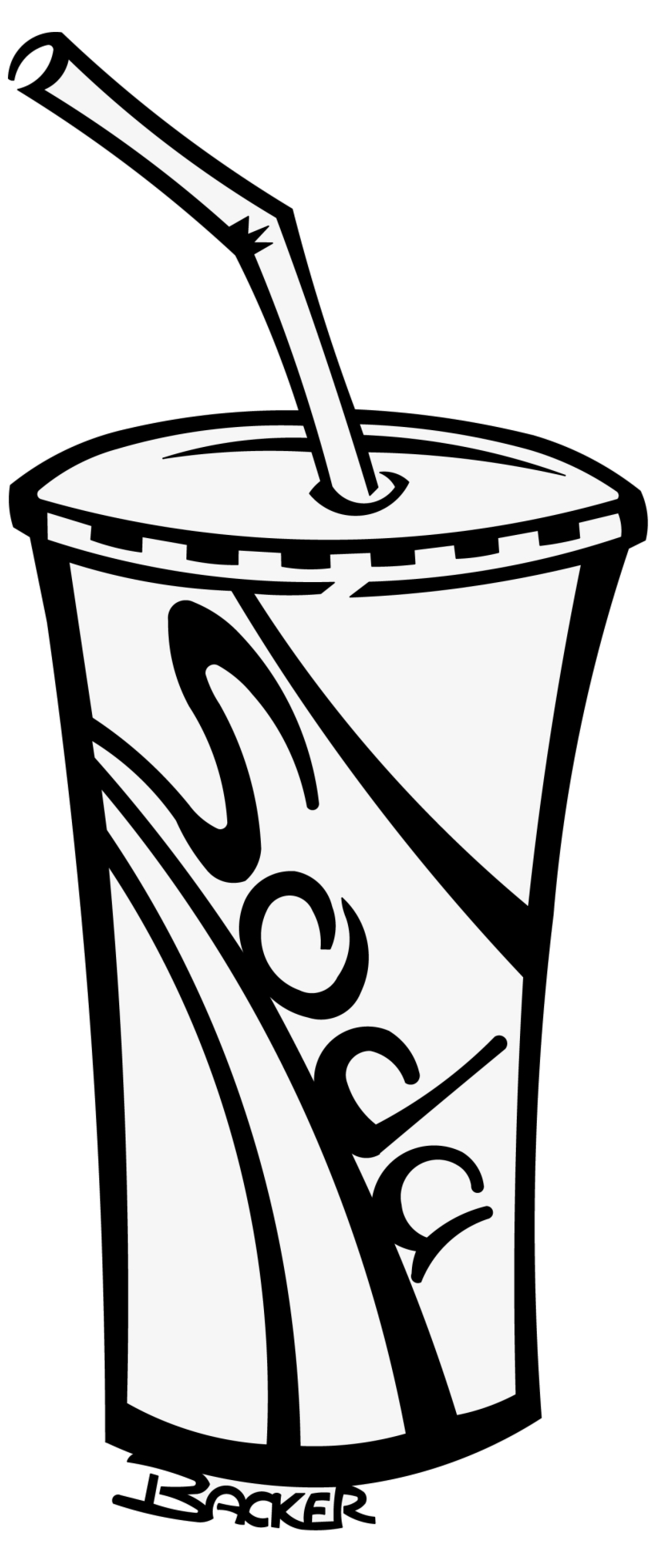 Soda Cup Soft Drinks Clipart Black And White Free Transparent Png.