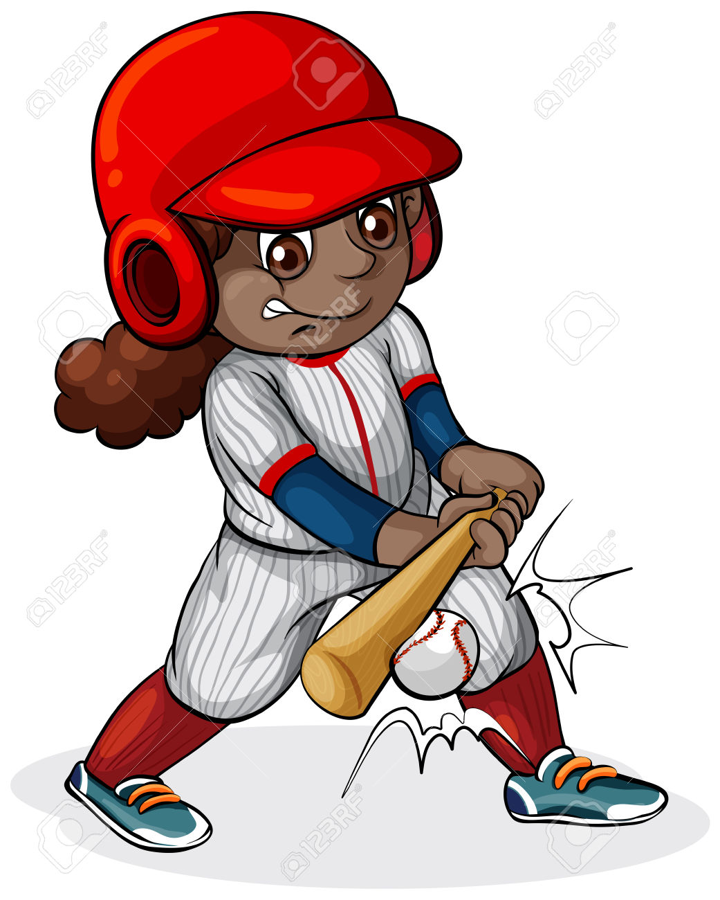 Girl baseball cartoon