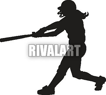 Softball Girl Batting Clipart.