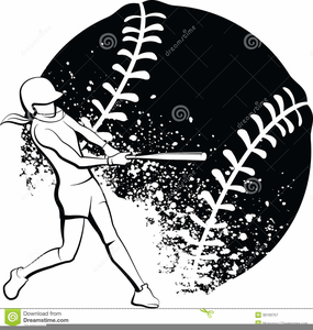 Free Black And White Softball Clipart.