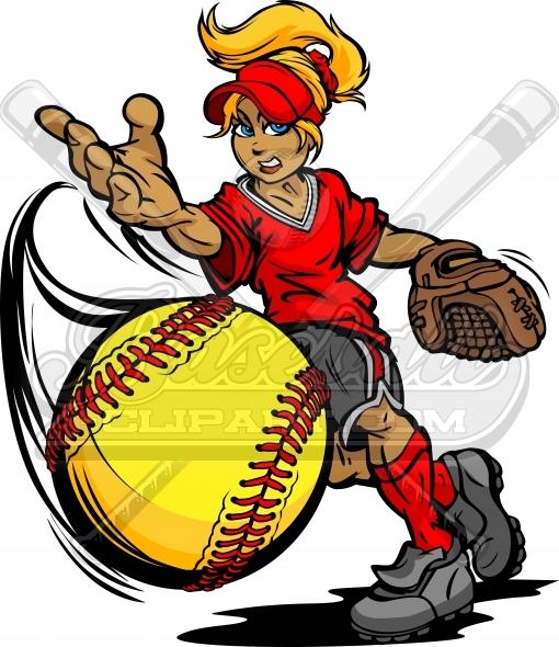 Fastpitch Softball Pitcher. Softball Player Cartoon Clipart..
