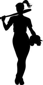 Girl softball player silhouette clipart.