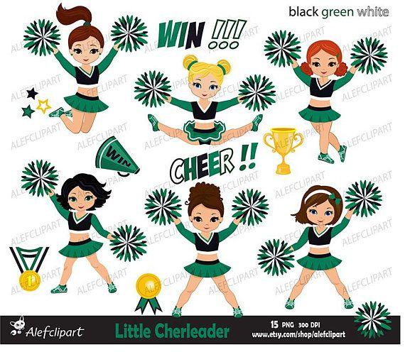 Cheerleader Digital Clipart Set / Black Green White/ for.