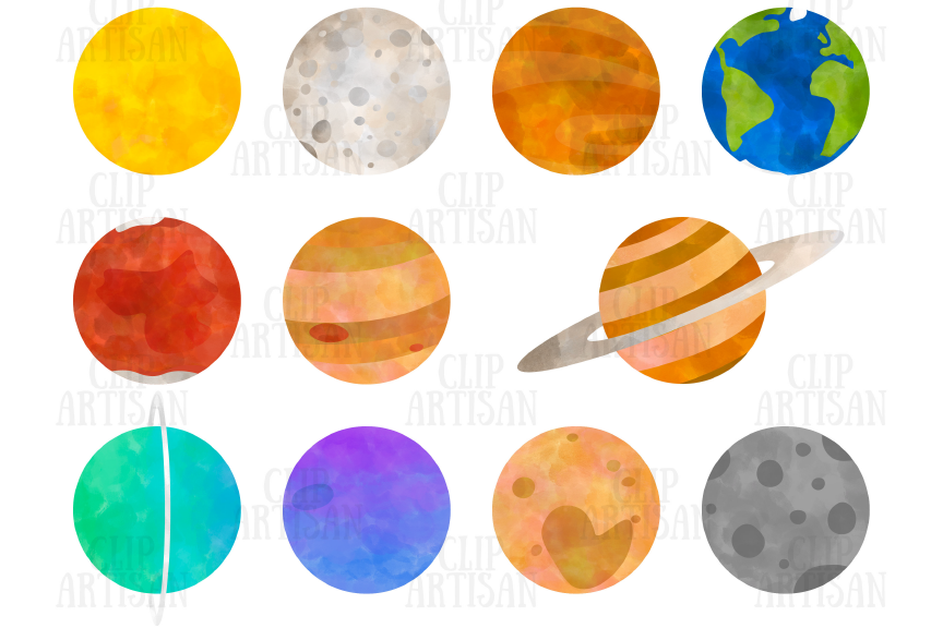 Planets Clipart, Watercolor Solar System.