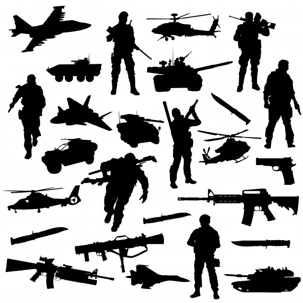 Army war battle clipart symbol silhouette vector Vector.