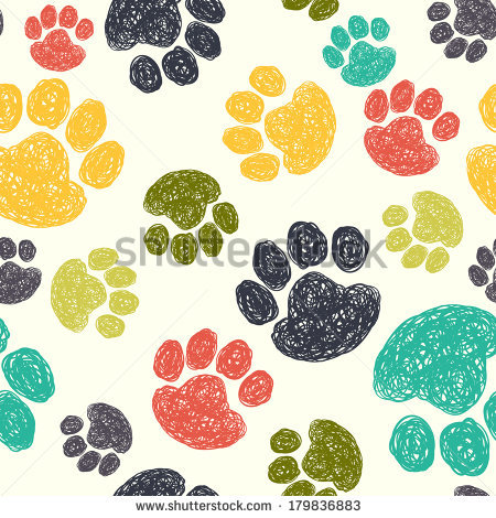 clipart solid color background with dog patern paws #14