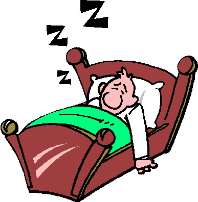 Cartoon Person Sleeping in Bed Clipart.