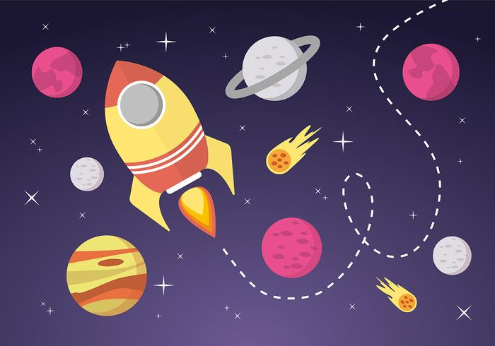 Space Landscape Vector Background.