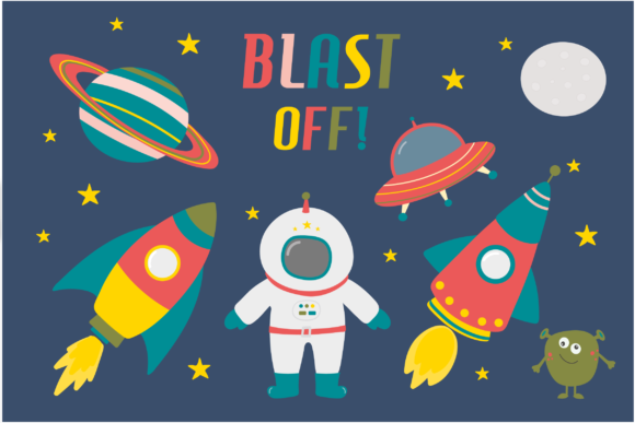 Blast off! space clipart.