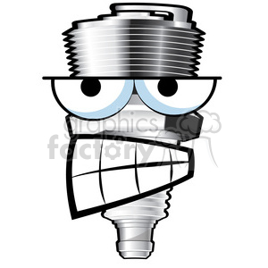 mean spark plug cartoon character clipart. Royalty.