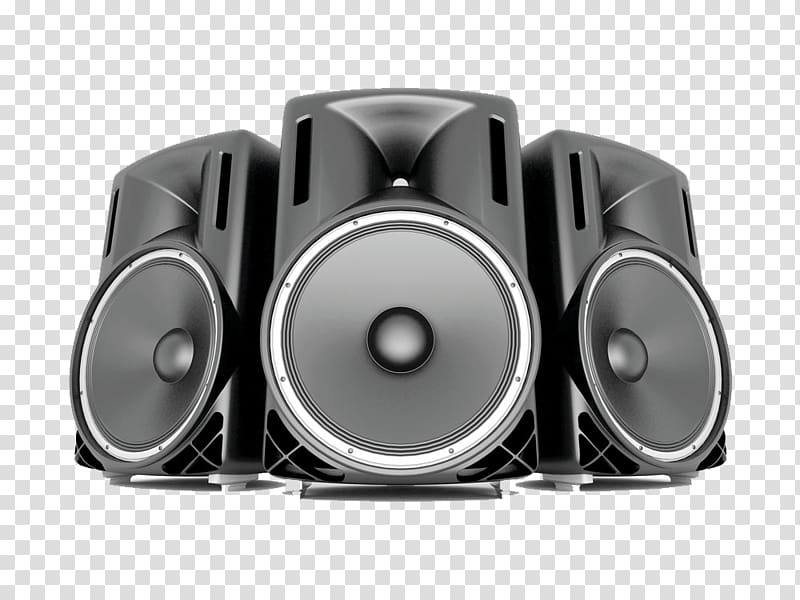 Three gray speaker illustration, Loudspeaker Icon, Big Horn.