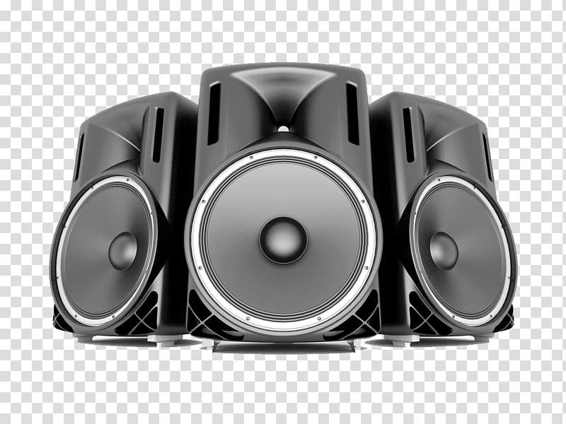 Three gray speaker illustration, Loudspeaker Icon, Big Horn.