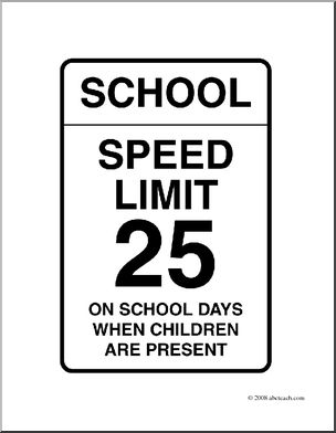 Clip Art: Signs: School Speed Limit (coloring page) I.