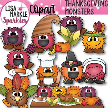 Thanksgiving Thankful Happy Monsters Clipart.