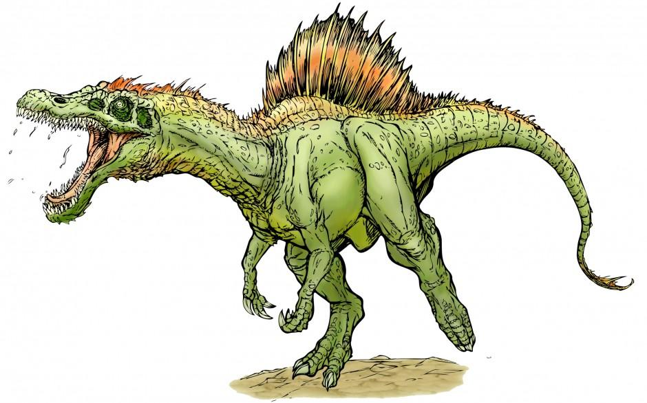 Cartoon Clipart Of A Drunk Or Dumb Spinosaurus Dinosaur.