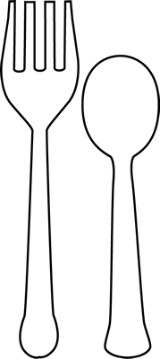 Spoon And Fork Outline Clipart.