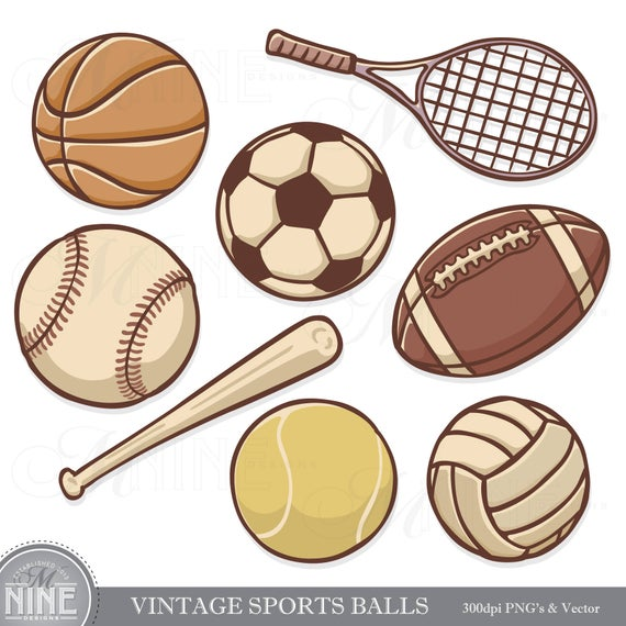 VINTAGE SPORTS BALLS Clip Art.