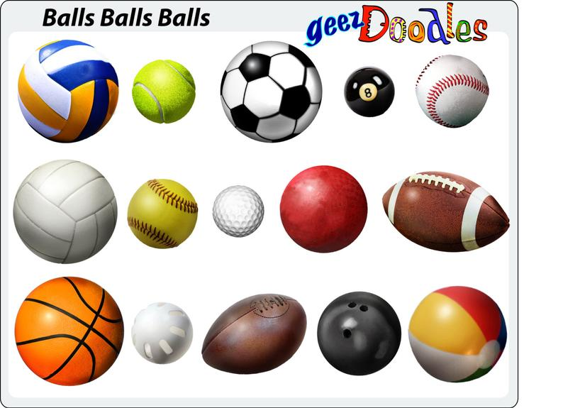 Sports Balls Clipart ~ Sporting goods balls in a watercolor style ~  Baseball, Football, volleyball, soccer, tennis, golf, rugby, basketball.
