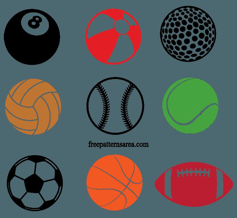 Sports Ball Free Vector Cliparts, Sticker Template File.