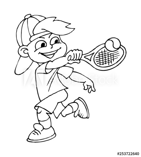 Boy playing tennis, children sports, black and white clipart.