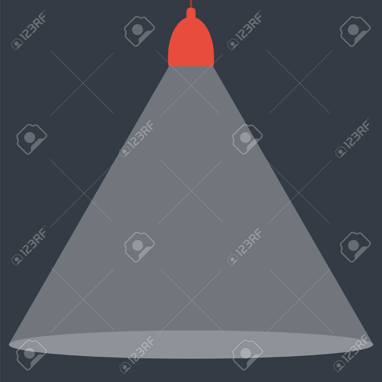 Spotlight shining down. Red hanging lamp. Design element. Vector...