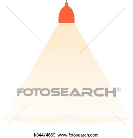 Spotlight shining down vector. Clip Art.