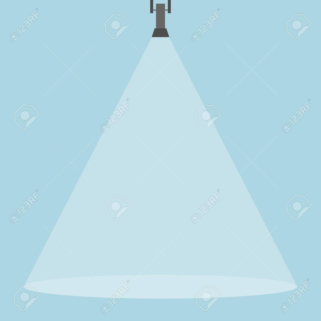 Spotlight shining down. Black hanging lamp. Design element. Vector...