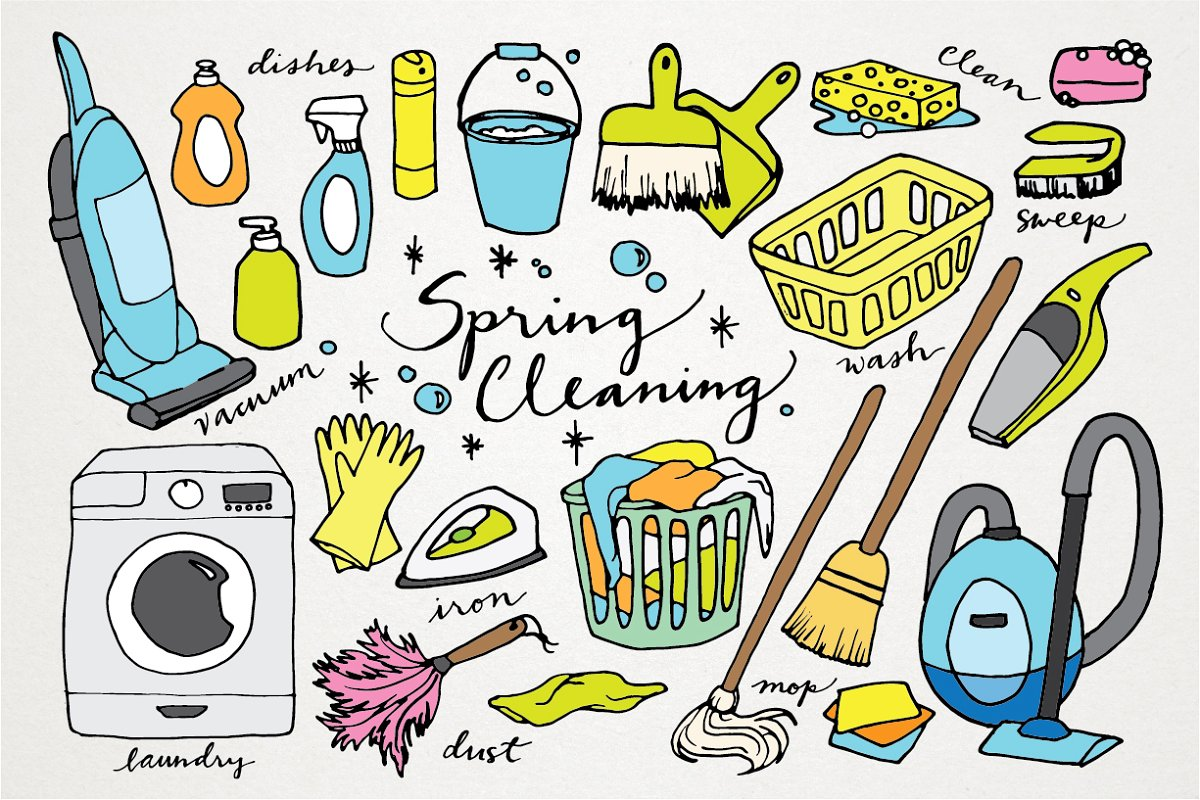 Spring Cleaning Hand Drawn Clipart.