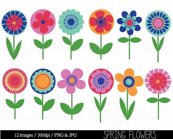 Flower Clipart Clip Art, Bright Flowers, Retro vintage flowers.