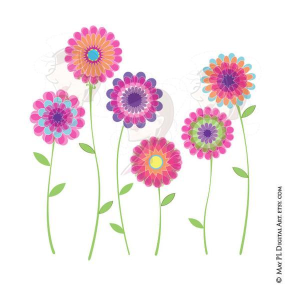 Pink Flower Clipart Spring Flowers Floral VECTOR Clip Art Digital Download  Scrapbook Craft Supplies DIY Invitations Commercial Use 10042.