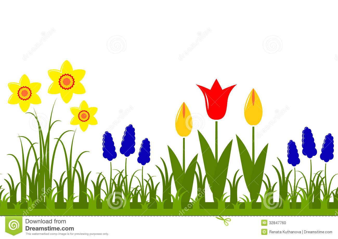 Spring Flowers Border Clipart.