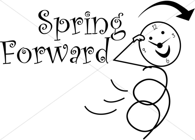 Spring Forward Daylight Savings Stick Figure.