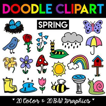 Spring Season Doodle Clipart Set.