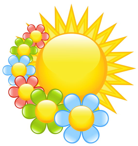 Spring Sun with Flowers Clipart.