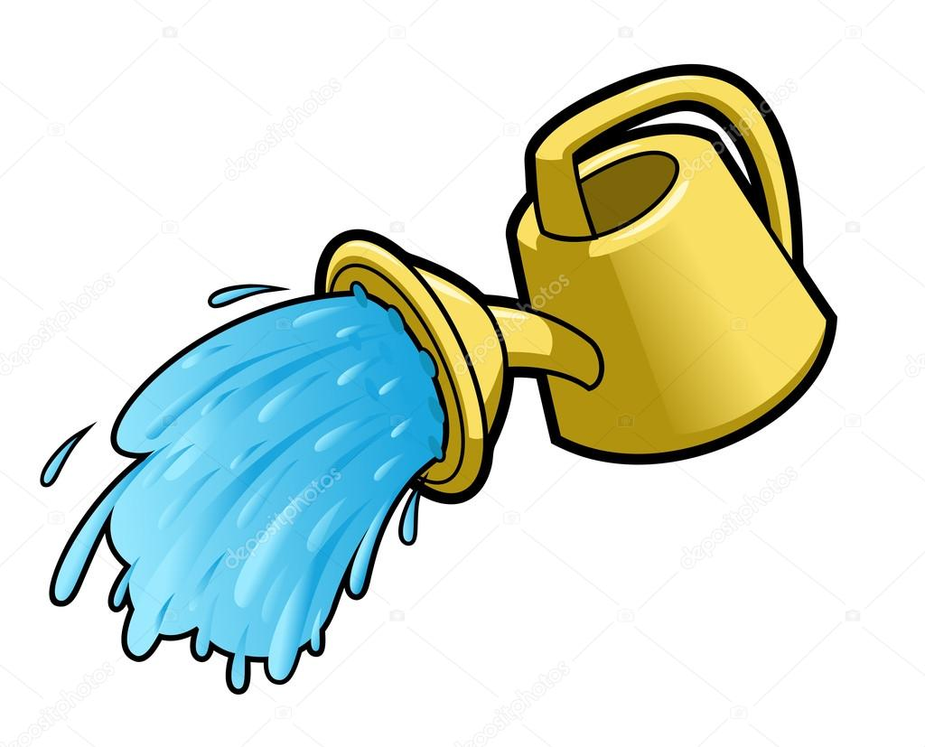 Clipart: watering can pouring water.