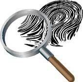 Spyglass and fingerprint Clipart.