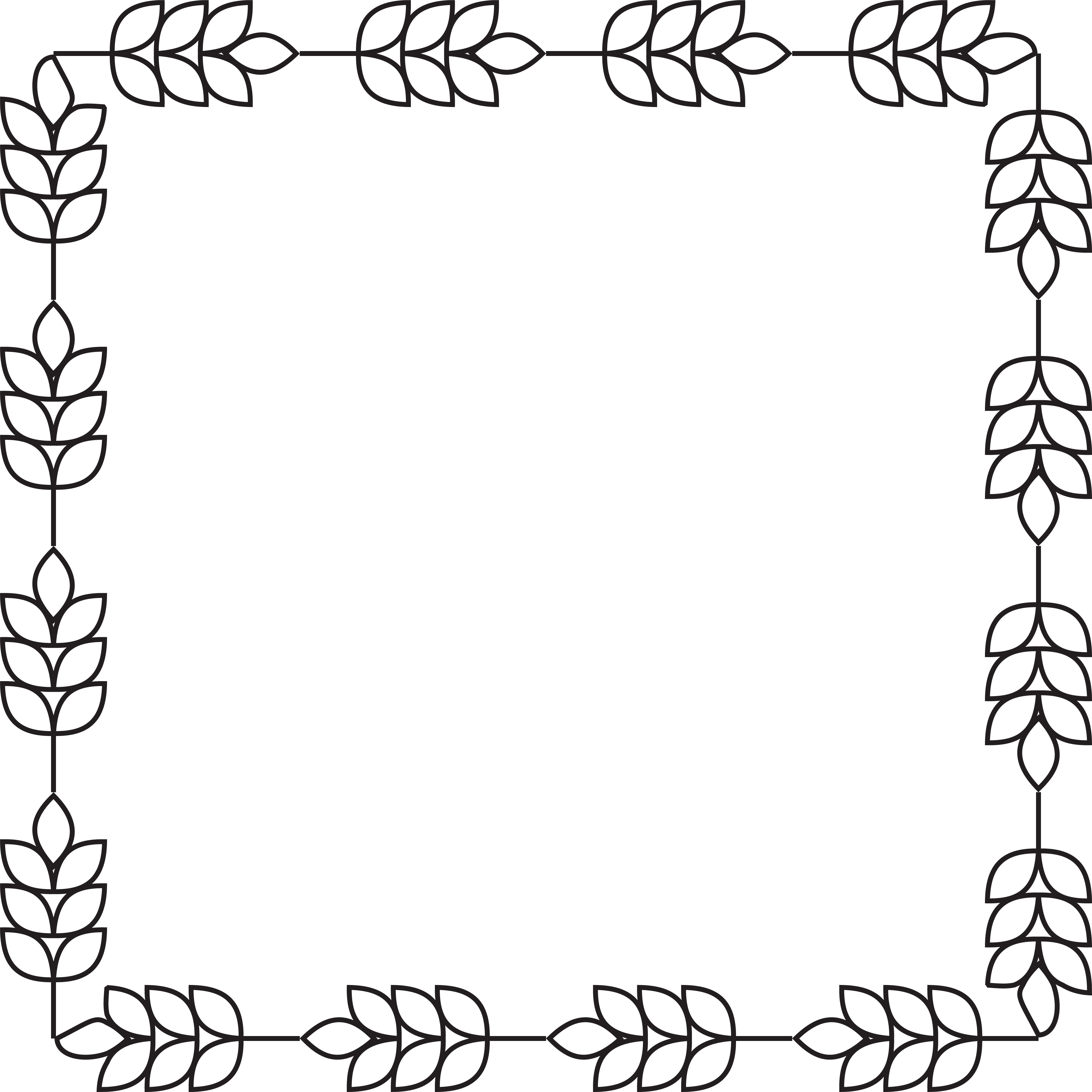 Free Clipart of a square border of barley.