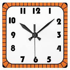 Square clock clipart black and white.