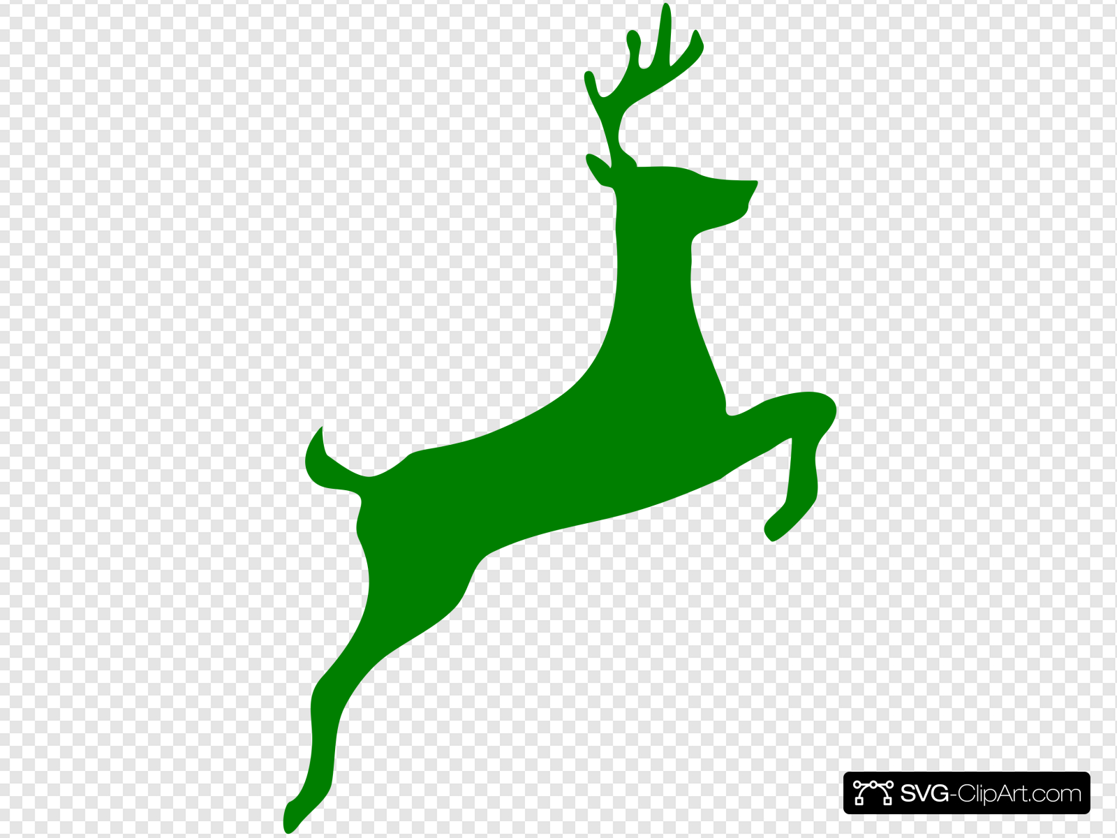 Leaping Stag Clip art, Icon and SVG.