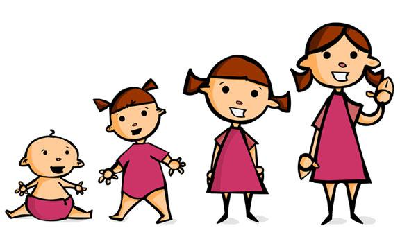 Girl growing up stages clipart.