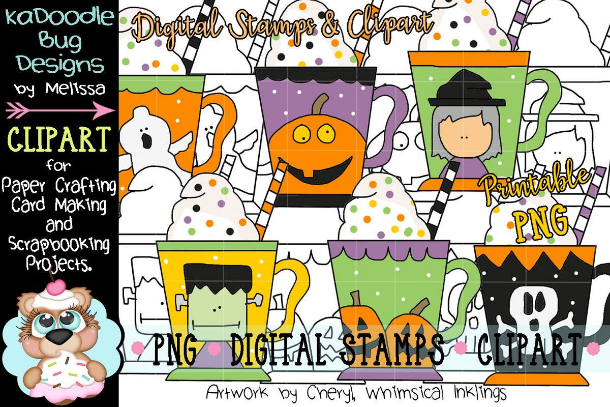 Halloween Coffee Mug Digital Stamp and Clipart Illustrations.