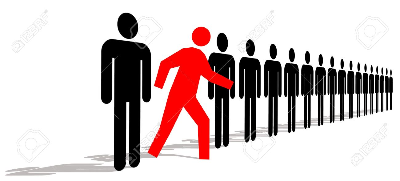 Red Man Standing Out In A Line Of Black Men.