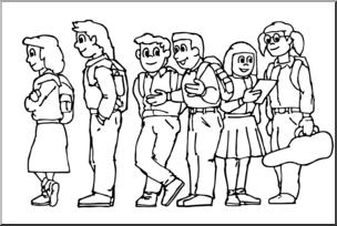 Clip Art: Kids: Standing In Line B&W I abcteach.com.