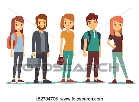 Queue of young people. Waiting women and men standing in line. Vector  illustration Clip Art.