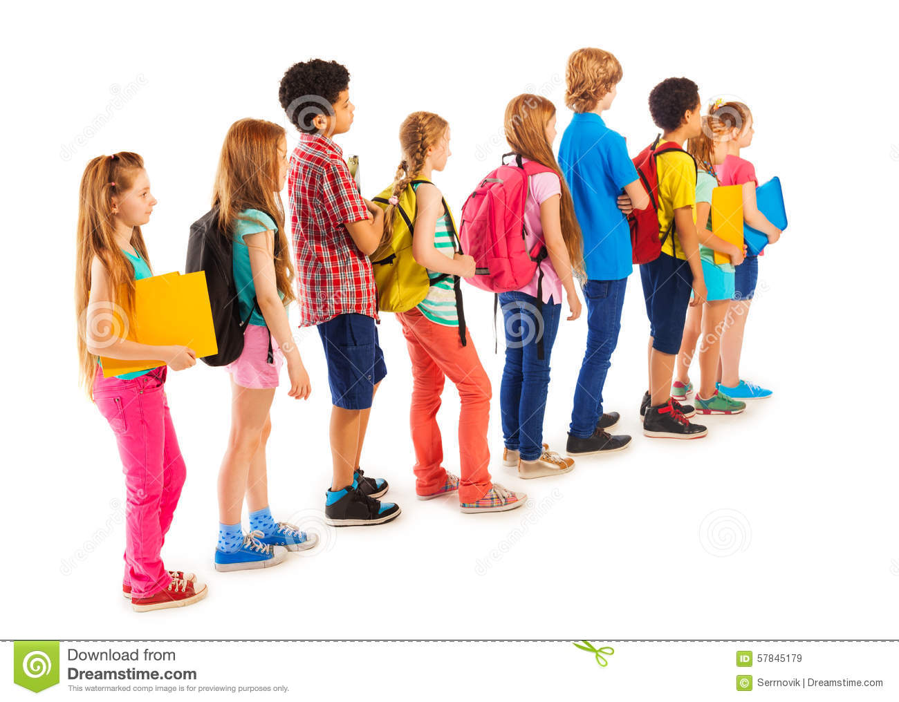 Group Of Boys And Girls Standing In The Line Stock Image.