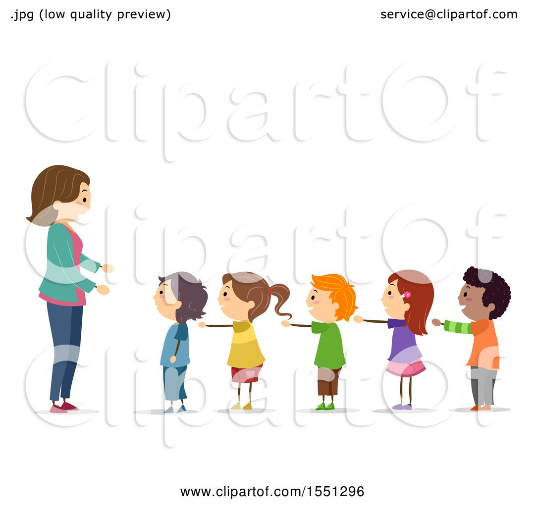 Clipart of a Group of Children Standing in Line with Their Arms out.